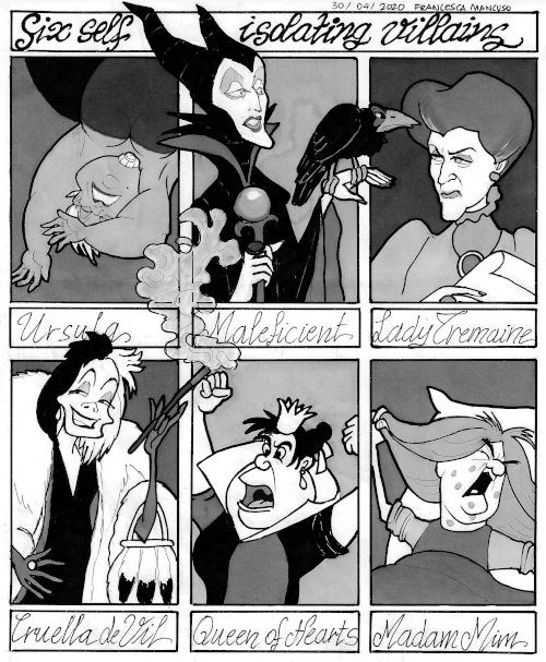 Six Disney Villains in Isolation