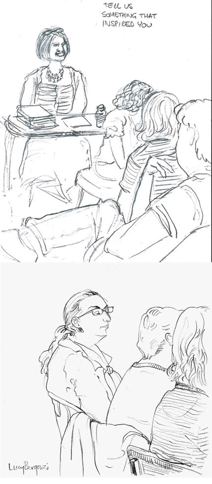 Laydeez do Comics Audience - sketches by Francesca Mancuso and Lucy Bergonzi