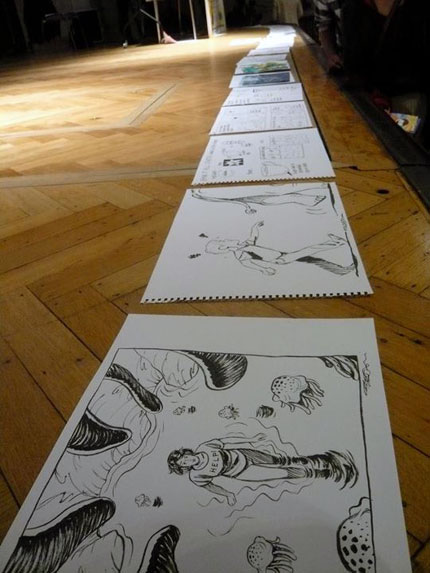 All the drawings made on stage