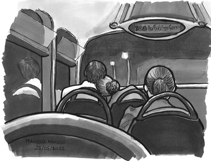 Night Bus - drawing by Francesca Mancuso